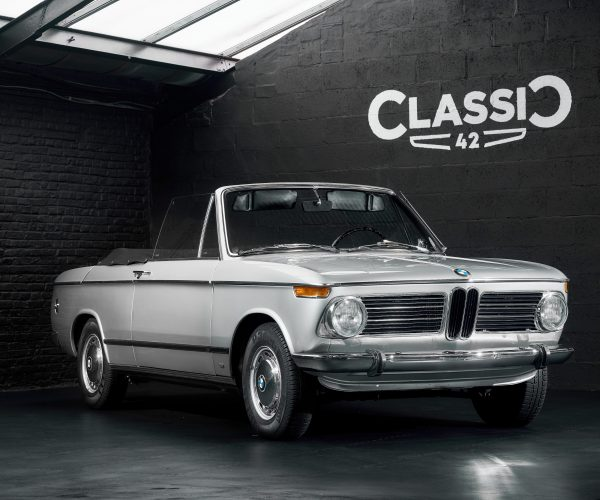 photo of a 1970 grey BMW 1602 convertible for sale by Classic 42 a classic german car dealer based in Brussels